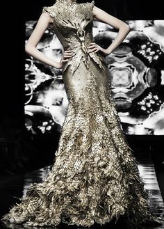gold gown angel, feathers, floor length dress, high neck