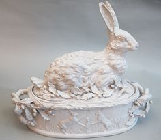 JULIA BOSTON ANTIQUES WHITE GLAZED HARE TERRINE WITH OAK LEAVES AND ACORNS by Jean Paul Gordon The piece is in two pieces the shell lifts off to reveal the inside. - See more at: http://www.juliaboston.com/faience1888-1929.html#sthash.jKNqIEjU.dpuf
