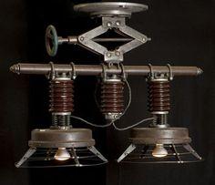 Lamps by Cory Barkman. Steampunk Decor We Love at Design Connection, Inc. | Kansas City Interior Design http://designconnectioninc.com/blog/ #Steampunk #InteriorDesign