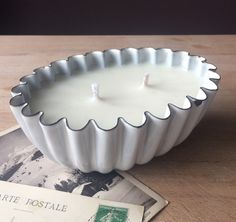 A personal favourite from my Etsy shop https://www.etsy.com/uk/listing/490727045/white-vintage-enamel-fluted-blancmange