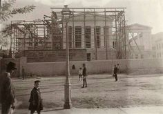 The National Library building at Panepistimiou Ave., under construction. Greece Pictures, Old Pictures, Old Photos, Vintage Photos, Old Greek, Greece Photography, Greek History, Photography Articles, Athens Greece