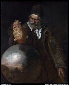 Unknown Artist - An Old Man holding a Pilgrim-Bottle italian school  17/18thc BELLOTI circle