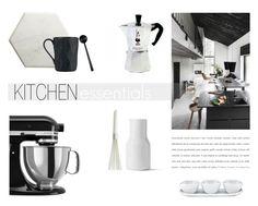 """Kitchen Essentials"" by nmkratz ❤ liked on Polyvore featuring interior, interiors, interior design, home, home decor, interior decorating, Moka London, Normann Copenhagen, KitchenAid and Dansk"