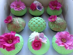 Lime Green & Hot Pink Cupcakes