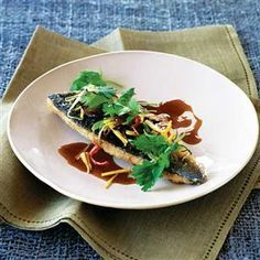 Thai ginger sea bass with mushrooms recipe. Try this quick and easy Thai dish with lovely sea bass.