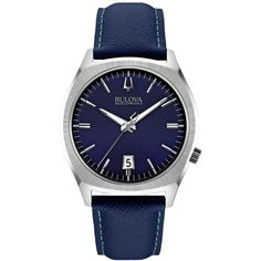 Bulova Accutron Ii Men's Surveyor Blue Leather Strap Watch 41mm 96B212 ($338) ❤ liked on Polyvore featuring men's fashion, men's jewelry, men's watches and no color