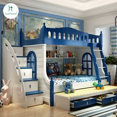 Online Shop Loiuis Fashion Children Beds Multifunction Combination of Adult Cot Bunk Bed Mediterranean Style Modern Kids Bedroom, Modern Bunk Beds, Kids Bedroom Designs, Bunk Bed Designs, Bedroom Bed Design, Kids Bedroom Furniture, Kids Room Design, Children Furniture, Bedroom Small