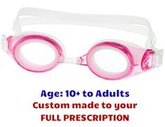 e985bf82b5e Adult M2P Pink Swim Goggles with Lenses made to your exact prescription! 4  colors + wide range of powers available.