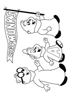 chipmunks coloring pages with flags - photo#31