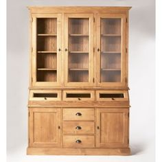 buffet vaisselier en bois massif cir miel il comporte 3 portes battantes trappes