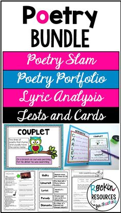 This POETRY BUNDLE includes Poetry Slam, Student Poetry Porfolio, Analyzing Poetry with Lyrics, and Assessment resources.