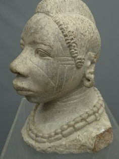 """Lot Image:  Stone bust African woman.13 1/2"""" Ht.  Copake Auction"""