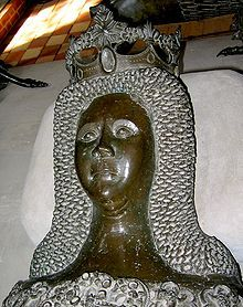 Euphemia of Pomerania, wife of Christian II of Denmark. She died in 1330 but the statue comes from about Denmark