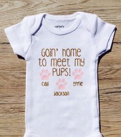 Goin' Home To Meet My Pups/ Kitties Custom Baby Onesie/ Newborn Going Home Outfit by DivineLittles on Etsy https://www.etsy.com/listing/224498887/goin-home-to-meet-my-pups-kitties-custom