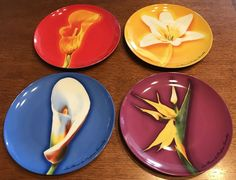 Givenchy Parfums Salad Plates Set of 4 Flowers All Different #Givenchy