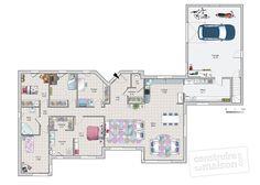Plan habillé Rdc - maison - Une maison au coeur de la nature