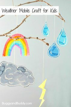 Fun craft to add to your collection of weather activities for kids - a homemade weather mobile craft using a small branch. Weather Activities For Kids, Preschool Weather, Weather Crafts, Creative Activities, Craft Activities, Preschool Crafts, Weather For Kids, Children Activities, Easy Crafts For Kids