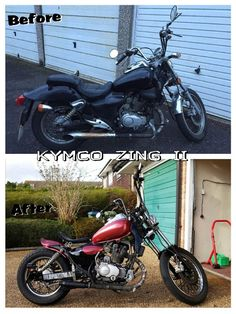 Kymco Zing II Bobber (Before & After).    http://bbsparkycustoms.co.uk/bike-projects/kymco-zing-bobber/