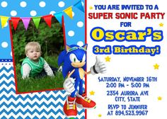 Sonic Birthday Party Invitation  Printable by FantasticInvitation, $8.99