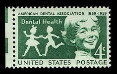 The 4-cent Dental Health commemorative postage stamp was issued through the New York, New York, post office, on September 14, 1959, during the centennial meeting of the American Dental Association.