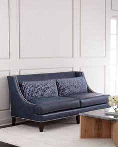 Massoud Colbie Navy Leather Sofa