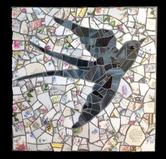 Barn Swallow Mosaic Plaque with Vintage by StrappStudioMosaics