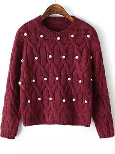 Red Long Sleeve Beaded Cable Knit Sweater 26.67
