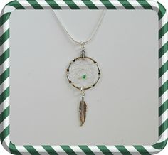 Silver Dreamcatcher Necklace with a green bead and feather, small simple necklace, Native American inspired, boho, small dream catcher by OriginalsByCathy on Etsy Dream Catcher Jewelry, Small Dream Catcher, Simple Necklace, Bead Weaving, Seed Beads, Native American, Feather, Pendant Necklace, Boho