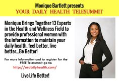 """Female entrepreneurs if you are stressed, depressed, overweight or lack time and energy I invite you to join the """"Your Daily Health Telesummit"""" Sign up now for FREE http://bit.ly/1K6Vl55 #yourdailyhealth"""