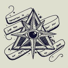 traditional tattoo creepy style eye illustration, triangles!, banner, tomorrow is just too far for our eyes to see
