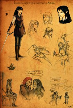 Arya Sketches by *Ticcy on deviantART  Not exactly how I imagined her, but pretty close.
