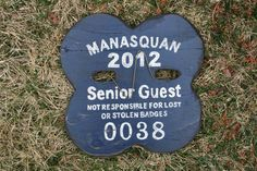 Manasquan Senior beach badge handmade from Signs by the Sea