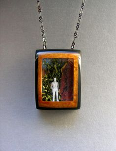 Man On Trail Shadowbox Diorama Resin Pendant Necklace by bedebug, $95.00
