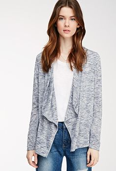 Contemporary Drape-Front Marled Cardigan | Forever 21 - 2000055630