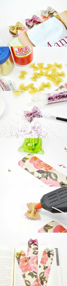 These glittery DIY bookmarks are made out of a very unexpected material - bow tie pasta! Learn how to make this unique craft project.