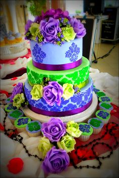 Lime Green and Purple Wedding Cakes
