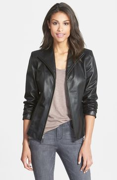 Cole Haan Cole Haan Lambskin Leather Scuba Jacket (Regular & Petite) available at #Nordstrom