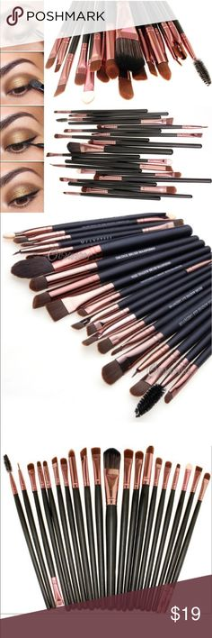 NEW MAKEUP BRUSH SET NEW NEVER USED MAKEUP BRUSH SET! 20 PIECE SET WITH A VARIETY OF STYLES FOR EVERY USE NEEDED FOR THAT PERFECT LOOK! MORE INFO IN LAST PIC SUCH AS WOOD HANDLES AND SOFT NYLON HAIR! DAUGHTERS HAVE ENOUGH SPRING CLEANING! 😉 Makeup Brushes & Tools