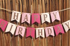 Birthday Banner Pink and Gold Birthday Pink and Gold