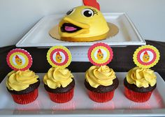 Chica birthday smash cake and cupcakes by Simply Sweet Creations (www.simplysweetonline.com)