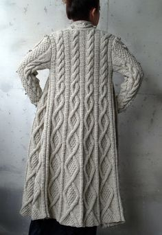 Beige Cable Long Knitted Coat Cardigan by Uniquebethea on Etsy Cable Knitting, Hand Knitting, Knit Jacket, Knit Cardigan, Crochet Jacket, Knitting Designs, Knitting Patterns, Crochet Patterns, Sweater Coats