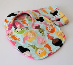 Mermaids in Surf Toddler Bib and Burp Cloth Set by augieandlola, $20.00