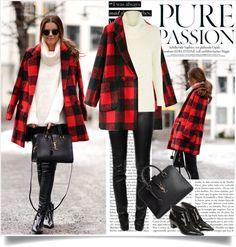 """wardrobe staple - the plaid coat"" by lisamichele-cdxci on Polyvore"