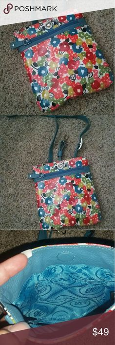 Brighton Crossbody Bag Small crossbody bag Everbloom - large pouch multi flowers  Measures approx 8x7.25 Coated on front, open pouch Magnetic snap to open/close Front zip pouch New, never used Brighton Bags Crossbody Bags