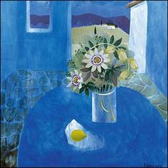 """From the BBC: The Royal Academy celebrates paintings in hospitals to """"enhance the healing environment"""" for patients, staff and visitors. This painting by Mary Fedden, titled Blue Terrace in Tuscany is one of those being exhibited. Blue Painting, Painting & Drawing, Art Floral, Claude Monet, Still Life Flowers, Still Life Art, Naive Art, Botanical Art, Oeuvre D'art"""