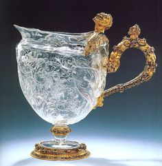 Sarachi workshop  Milan,  1580  Rhinestone pot Rock crystal  jug with  vicious  shape.