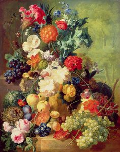 Jan van Os (Dutch, 1744-1808): Still Life with Flowers & Fruit