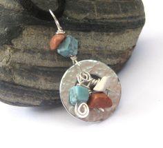 Leather Necklace, turquoise, jasper, howlite stones, hammered washer pendant, Southwest style