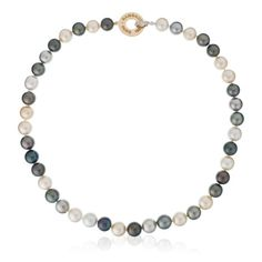 Yellow Gold Necklace With Tahitian, South Sea Pearls And Diamonds, 0.06ct
