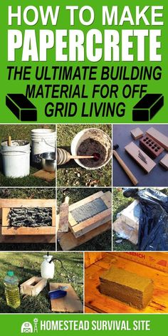 How to Make Papercrete: The Ultimate Building Material for Off Grid Living Papercrete is concrete made with paper. It's inexpensive, sturdy, lightweight, insulating, and better than bricks. Here's how to make it. Homestead Survival, Wilderness Survival, Survival Prepping, Survival Gear, Survival Skills, Survival Quotes, Survival Shelter, Emergency Preparedness, Survival Supplies